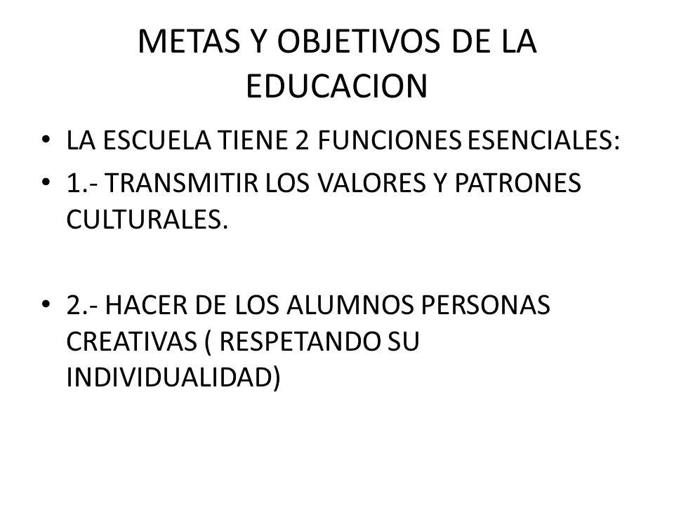 METAS Y OBJETIVOS DE LA EDUCACION LA ESCUELA TIENE 2 FUNCIONES ESENCIALES: 1.- TRANSMITIR LOS VALORES Y PATRONES CULTURALES. 2.- HACER DE LOS ALUMNOS