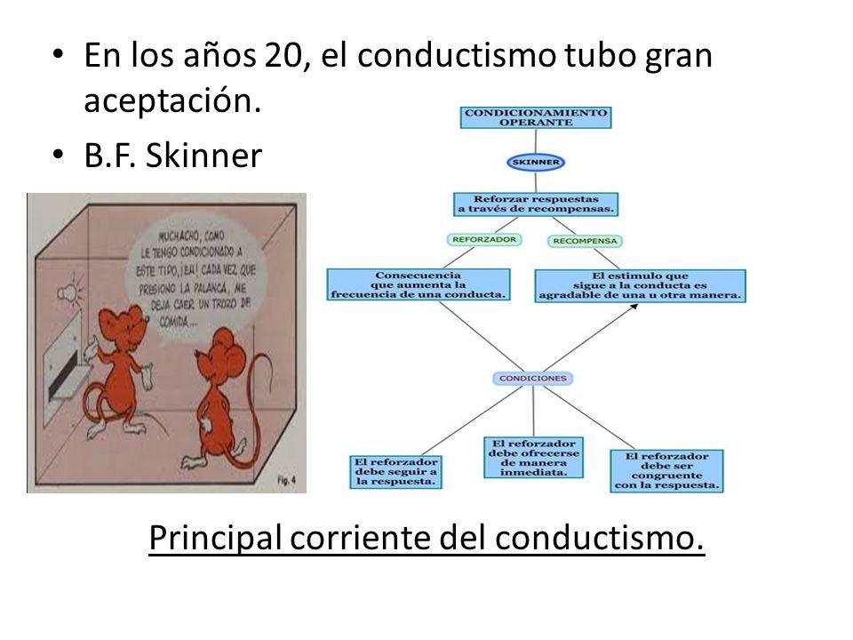 En los años 20, el conductismo tubo gran aceptación. B.F. Skinner Principal corriente del conductismo.