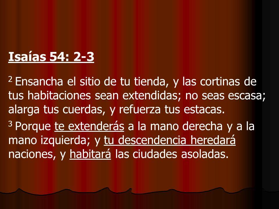 EXTIENDE TUS HABITACIONES Isaías 54: 2-3