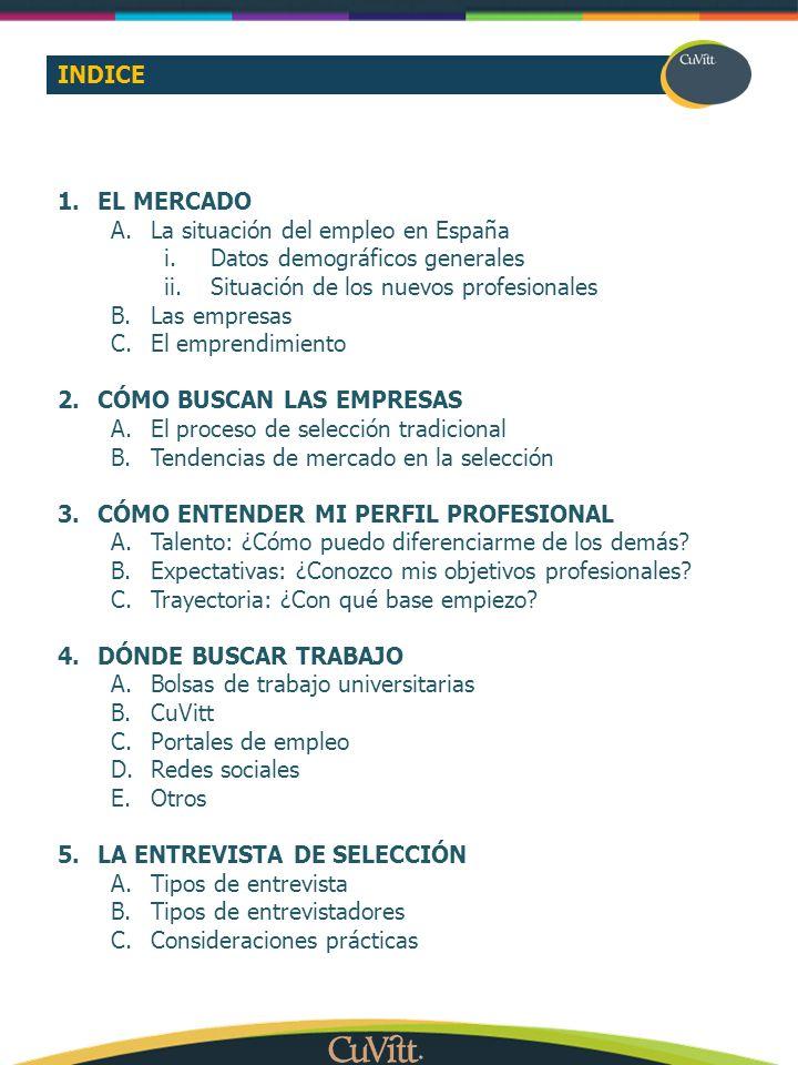 INDICE 1.EL MERCADO A.La situación del empleo en España i.Datos demográficos generales ii.Situación de los nuevos profesionales B.Las empresas C.El em