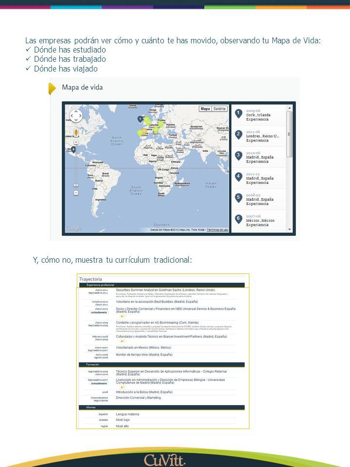 Las empresas podrán ver cómo y cuánto te has movido, observando tu Mapa de Vida: Dónde has estudiado Dónde has trabajado Dónde has viajado Y, cómo no,