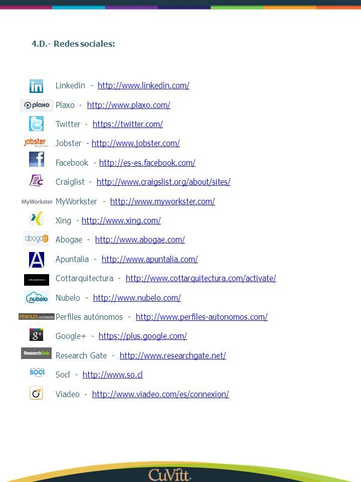 4.D.- Redes sociales: Linkedin - http://www.linkedin.com/ http://www.linkedin.com/ Plaxo - http://www.plaxo.com/http://www.plaxo.com/ Twitter - https: