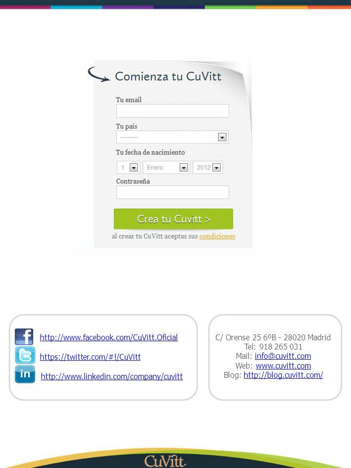 C/ Orense 25 6ºB - 28020 Madrid Tel: 918 265 031 Mail: info@cuvitt.cominfo@cuvitt.com Web: www.cuvitt.comwww.cuvitt.com Blog: http://blog.cuvitt.com/h