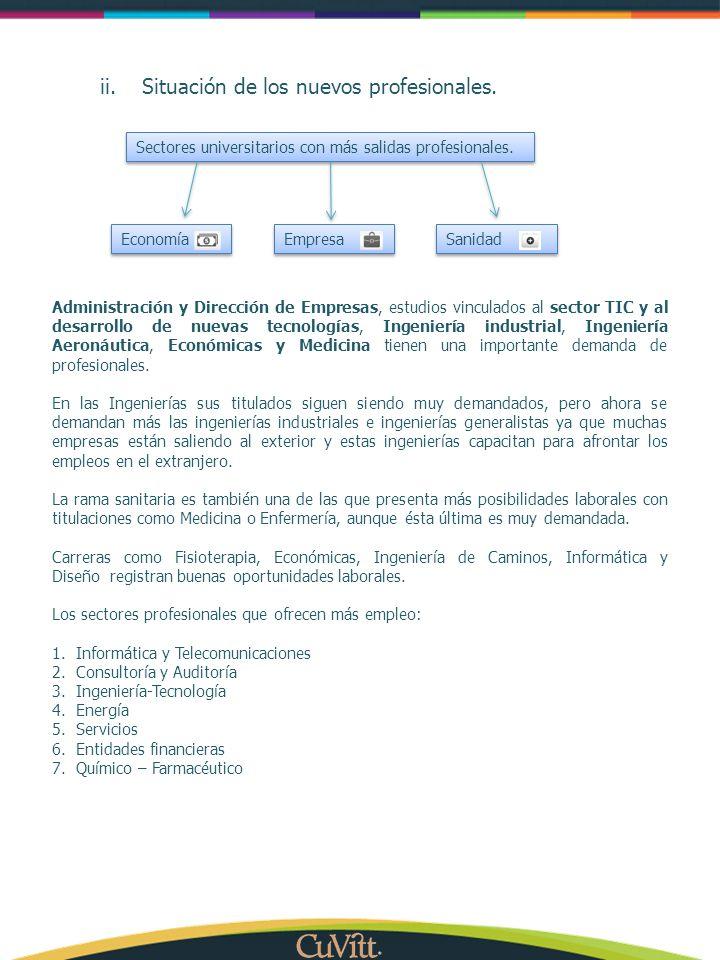 ii.Situación de los nuevos profesionales. Administración y Dirección de Empresas, estudios vinculados al sector TIC y al desarrollo de nuevas tecnolog