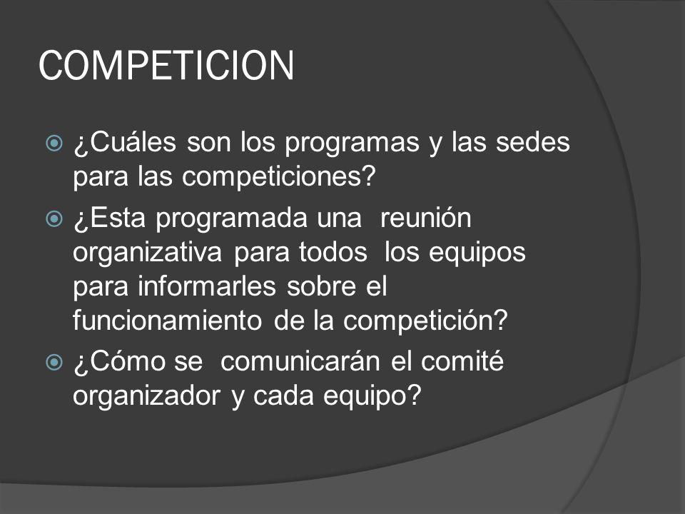 COMPETICION ¿Cuáles son los programas y las sedes para las competiciones.