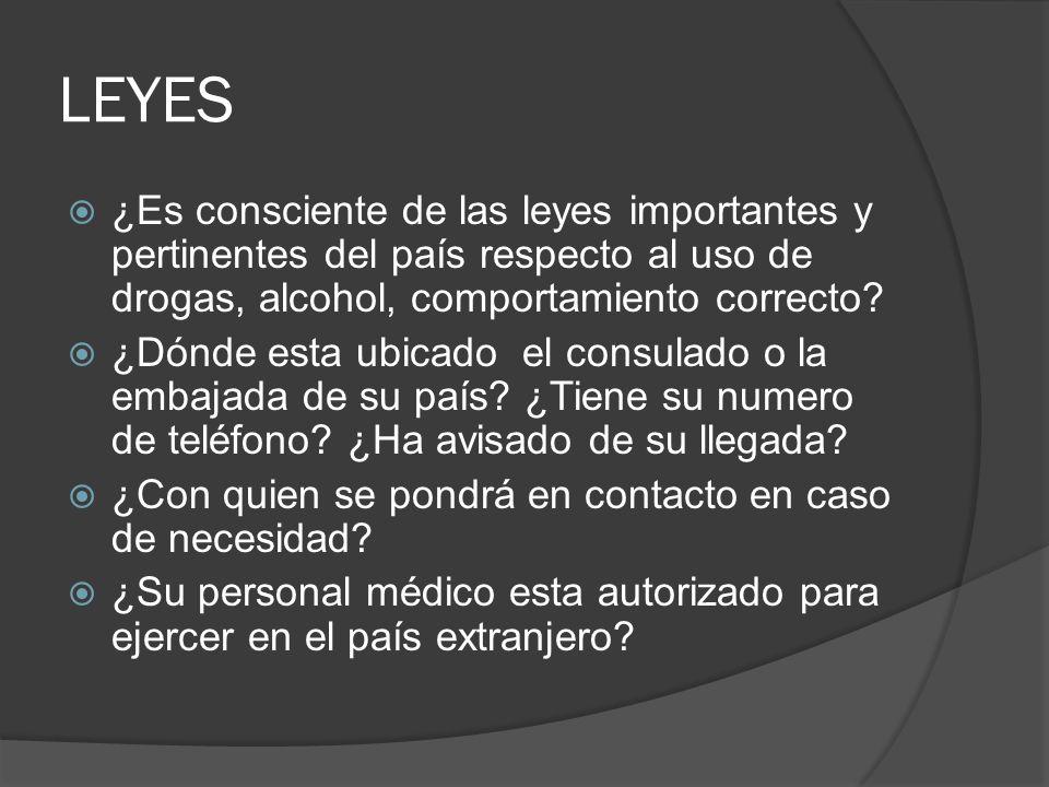 LEYES ¿Es consciente de las leyes importantes y pertinentes del país respecto al uso de drogas, alcohol, comportamiento correcto.