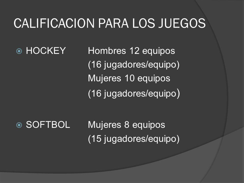 CALIFICACION PARA LOS JUEGOS HOCKEYHombres 12 equipos (16 jugadores/equipo) Mujeres 10 equipos (16 jugadores/equipo ) SOFTBOLMujeres 8 equipos (15 jugadores/equipo)
