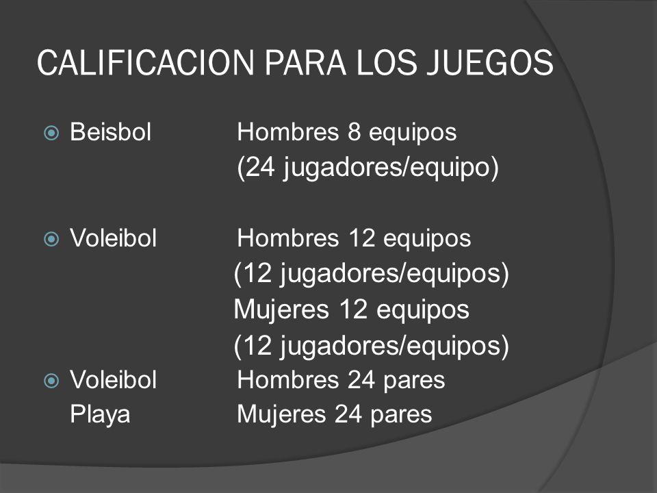CALIFICACION PARA LOS JUEGOS BeisbolHombres 8 equipos (24 jugadores/equipo) VoleibolHombres 12 equipos (12 jugadores/equipos) Mujeres 12 equipos (12 jugadores/equipos) Voleibol Hombres 24 pares PlayaMujeres 24 pares