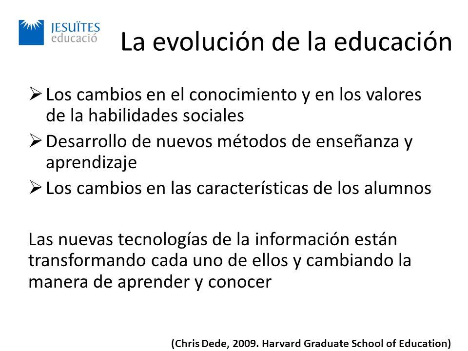 La evolución de la educación Los cambios en el conocimiento y en los valores de la habilidades sociales Desarrollo de nuevos métodos de enseñanza y aprendizaje Los cambios en las características de los alumnos Las nuevas tecnologías de la información están transformando cada uno de ellos y cambiando la manera de aprender y conocer (Chris Dede, 2009.