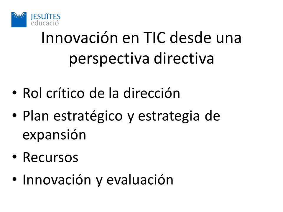 Innovación en TIC desde una perspectiva directiva Rol crítico de la dirección Plan estratégico y estrategia de expansión Recursos Innovación y evaluación