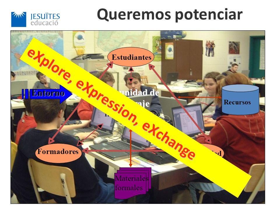 Trabajo colaborativo Estudiantes Formadores Comunidad comunidad de aprendizaje Materiales formales Recursos Entorno Queremos potenciar eXplore, eXpression, eXchange