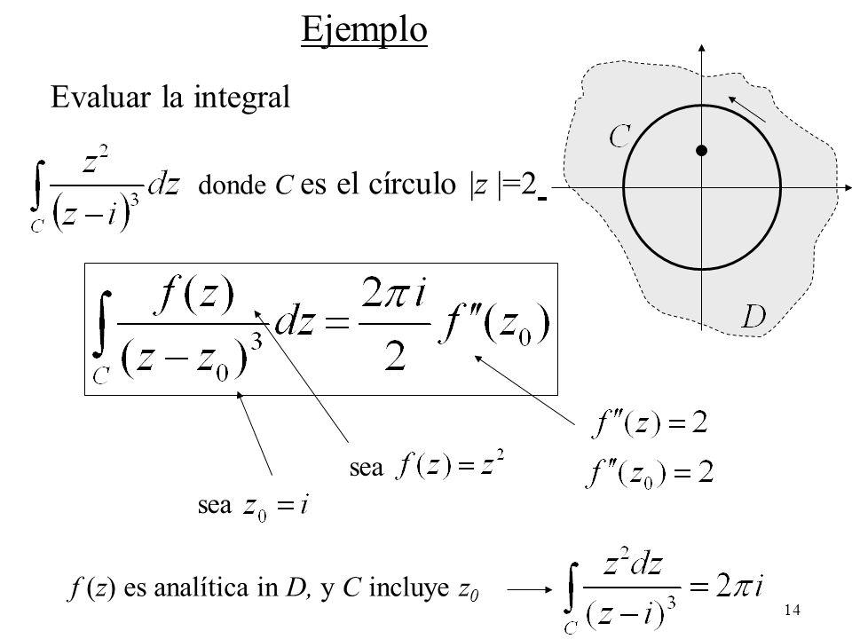 14 Ejemplo Evaluar la integral donde C es el círculo |z |=2 sea f (z) es analítica in D, y C incluye z 0