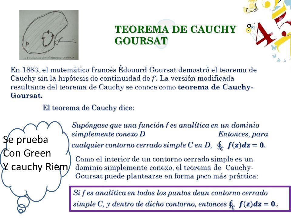 En 1883, el matemático francés Édouard Goursat demostró el teorema de Cauchy sin la hipótesis de continuidad de f. La versión modificada resultante de
