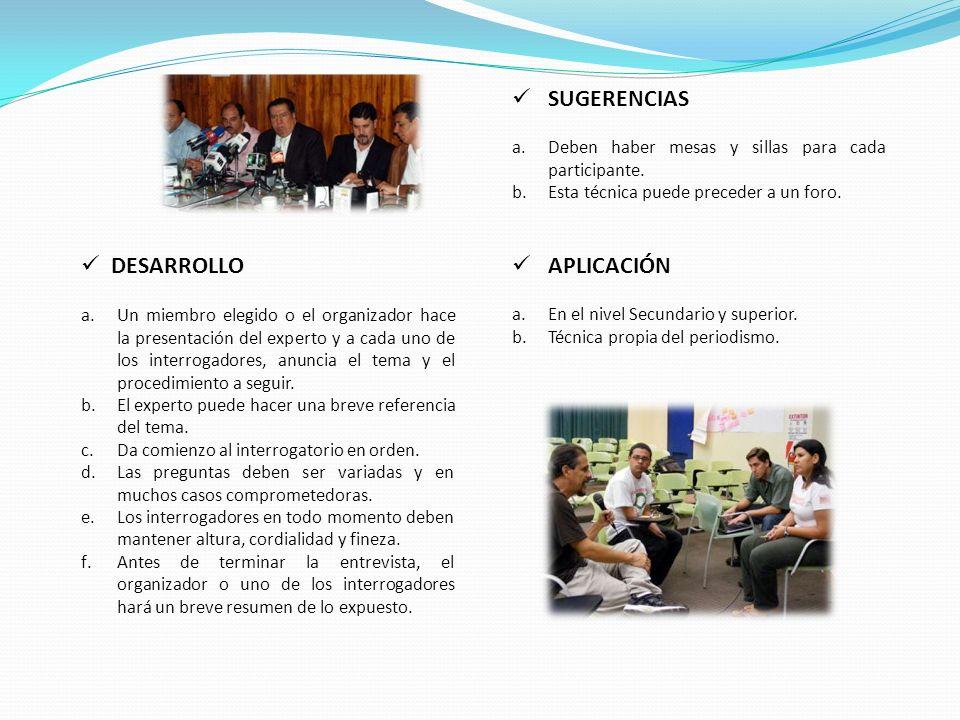 DESARROLLO a.Un miembro elegido o el organizador hace la presentación del experto y a cada uno de los interrogadores, anuncia el tema y el procedimiento a seguir.