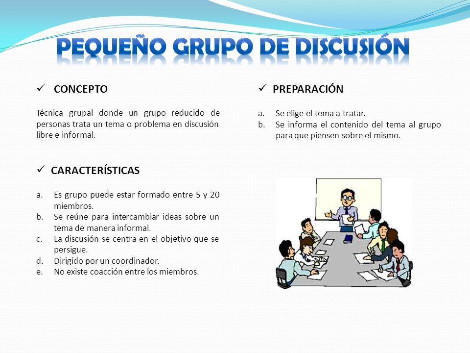 CONCEPTO CARACTERÍSTICAS Técnica grupal donde un grupo reducido de personas trata un tema o problema en discusión libre e informal.
