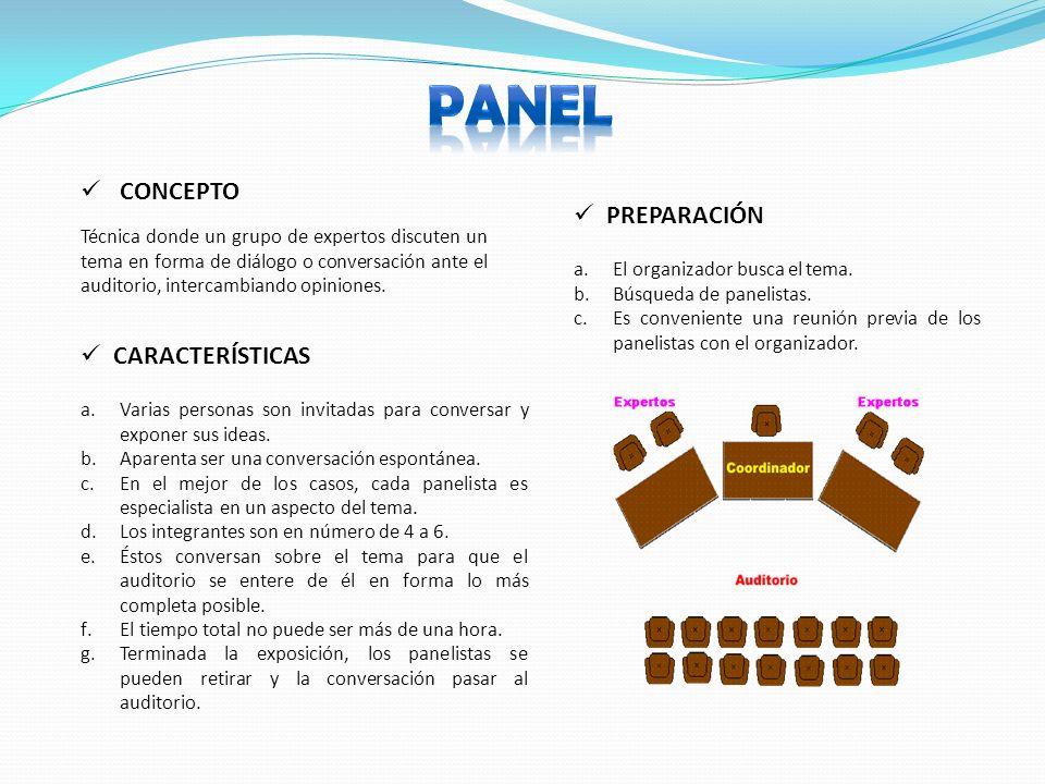 CONCEPTO CARACTERÍSTICAS Técnica donde un grupo de expertos discuten un tema en forma de diálogo o conversación ante el auditorio, intercambiando opiniones.