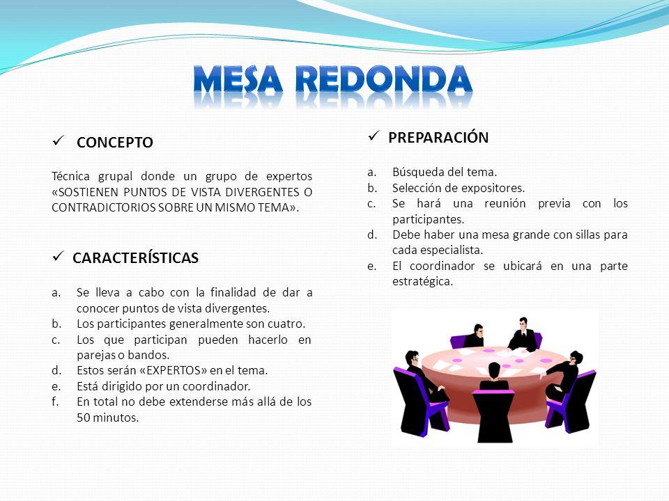 CONCEPTO CARACTERÍSTICAS Técnica grupal donde un grupo de expertos «SOSTIENEN PUNTOS DE VISTA DIVERGENTES O CONTRADICTORIOS SOBRE UN MISMO TEMA».