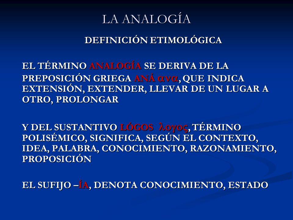 LA ANALOGÍA DEFINICIÓN ETIMOLÓGICA EL TÉRMINO ANALOGÍA SE DERIVA DE LA PREPOSICIÓN GRIEGA ANÁ, QUE INDICA EXTENSIÓN, EXTENDER, LLEVAR DE UN LUGAR A OT