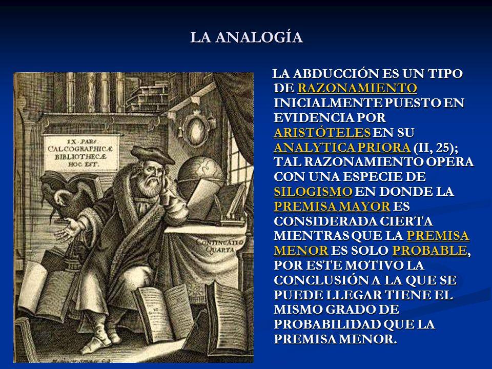 LA ANALOGÍA LA ABDUCCIÓN ES UN TIPO DE RAZONAMIENTO INICIALMENTE PUESTO EN EVIDENCIA POR ARISTÓTELES EN SU ANALYTICA PRIORA (II, 25); TAL RAZONAMIENTO