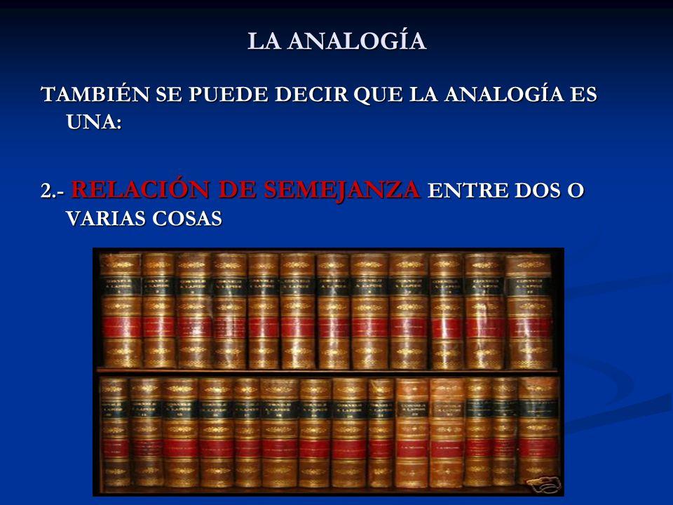 LA ANALOGÍA POR LA EXTRAORDINARIA IMPORTANCIA DE LA ANALOGÍA, ÉSTA SE HA DEFINIDO ATENDIENDO A ELEMENTOS ESPECÍFICOS DE CAMPOS DETERMINADOS, COMO POR EJEMPLO EN EL ÁMBITO EDUCATIVO, DONDE SE DEFINE COMO: