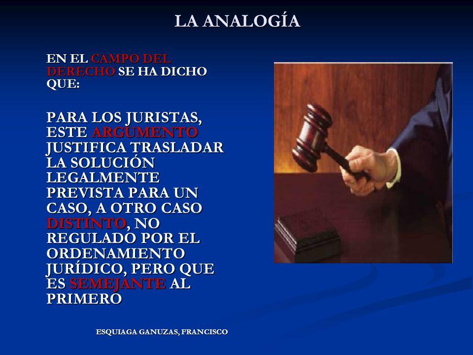 LA ANALOGÍA EN EL CAMPO DEL DERECHO SE HA DICHO QUE: PARA LOS JURISTAS, ESTE ARGUMENTO JUSTIFICA TRASLADAR LA SOLUCIÓN LEGALMENTE PREVISTA PARA UN CAS