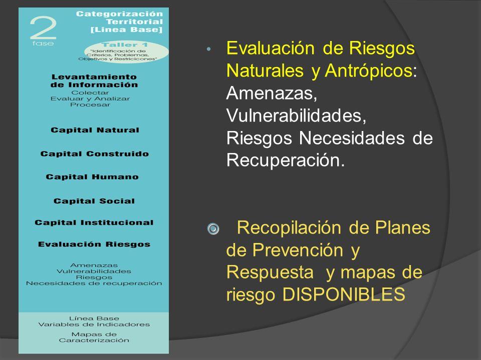 Evaluación de Riesgos Naturales y Antrópicos: Amenazas, Vulnerabilidades, Riesgos Necesidades de Recuperación. Recopilación de Planes de Prevención y