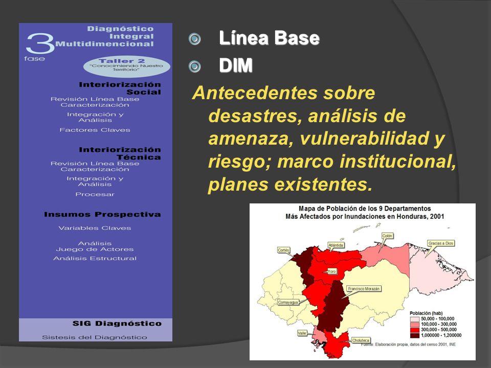 Línea Base Línea Base DIM DIM Antecedentes sobre desastres, análisis de amenaza, vulnerabilidad y riesgo; marco institucional, planes existentes.