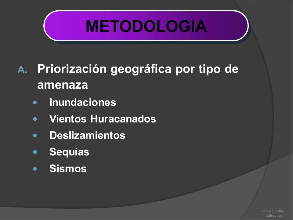 www.themeg allery.com METODOLOGIA A. Priorización geográfica por tipo de amenaza Inundaciones Vientos Huracanados Deslizamientos Sequías Sismos