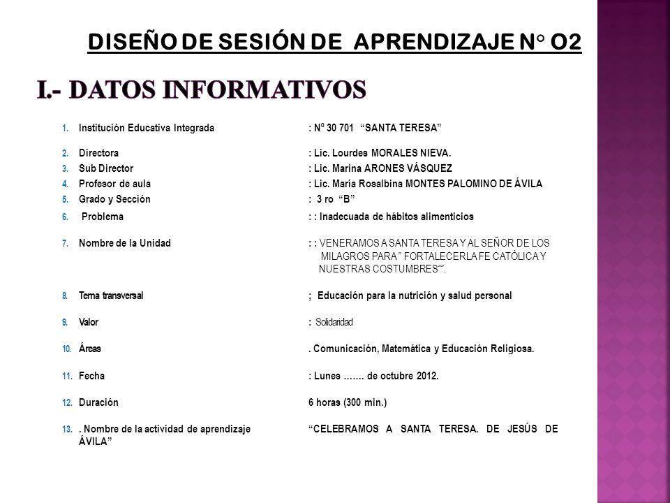1. Institución Educativa Integrada : Nº 30 701 SANTA TERESA 2. Directora: Lic. Lourdes MORALES NIEVA. 3. Sub Director: Lic. Marina ARONES VÁSQUEZ 4. P