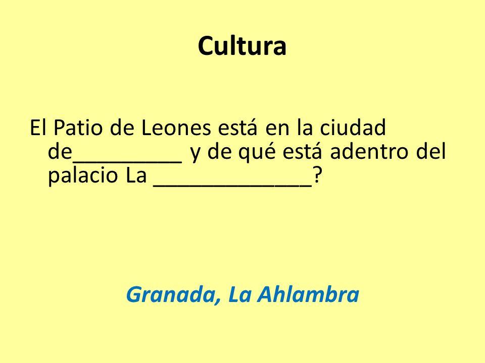 Cultura El Patio de Leones está en la ciudad de_________ y de qué está adentro del palacio La _____________.