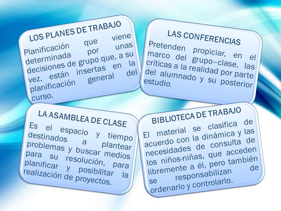 LOS PLANES DE TRABAJO Planificación que viene determinada por unas decisiones de grupo que, a su vez, están insertas en la planificación general del c