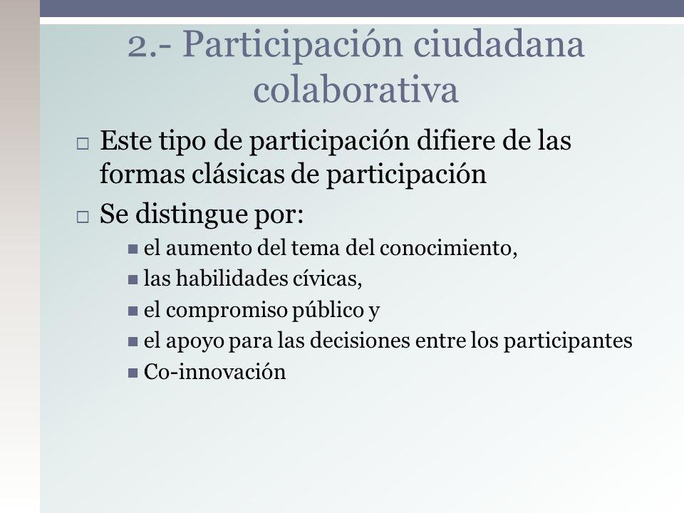 Este tipo de participación difiere de las formas clásicas de participación Se distingue por: el aumento del tema del conocimiento, las habilidades cív