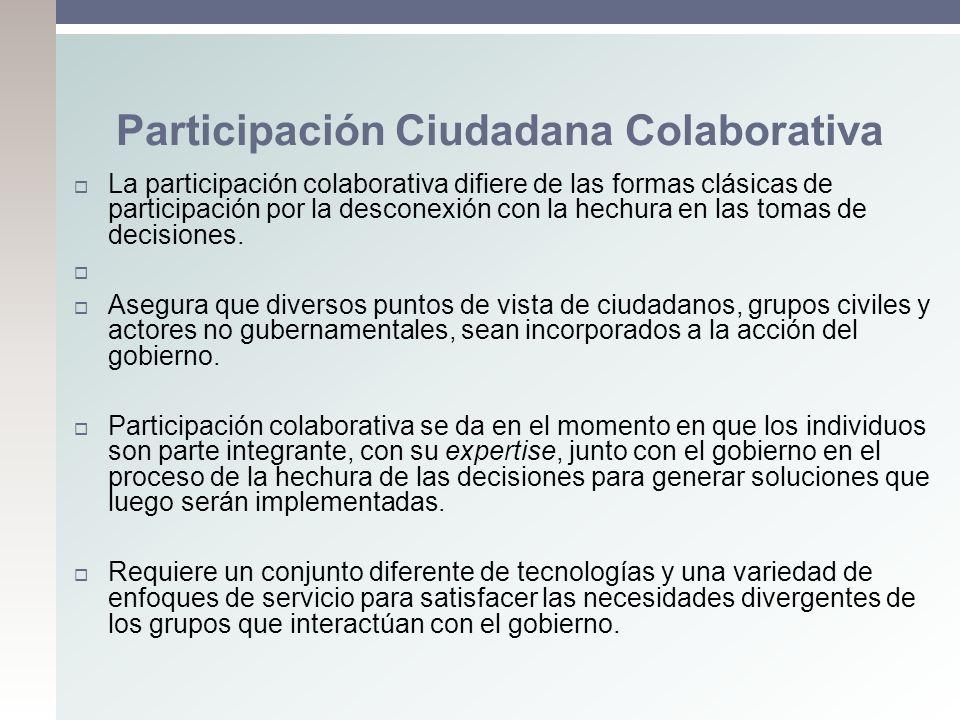 La participación colaborativa difiere de las formas clásicas de participación por la desconexión con la hechura en las tomas de decisiones. Asegura qu