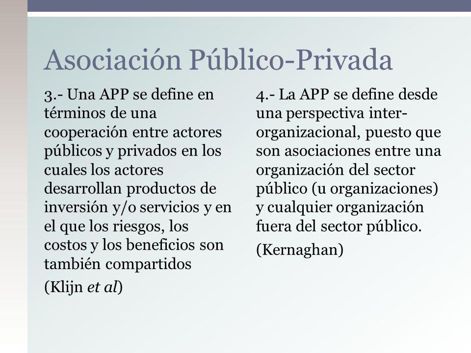 3.- Una APP se define en términos de una cooperación entre actores públicos y privados en los cuales los actores desarrollan productos de inversión y/