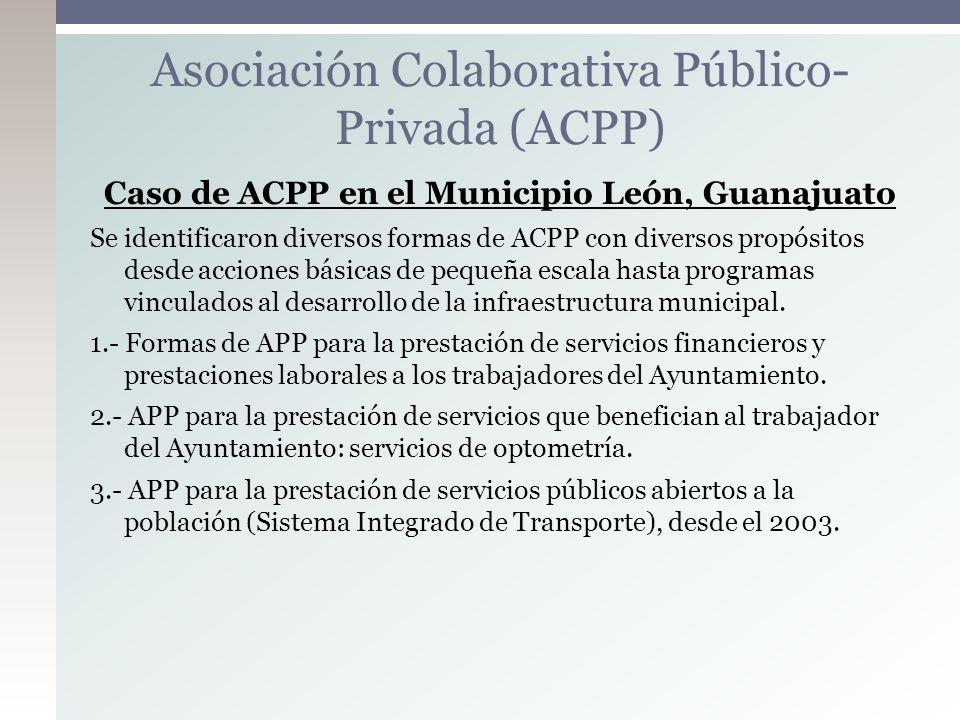 Caso de ACPP en el Municipio León, Guanajuato Se identificaron diversos formas de ACPP con diversos propósitos desde acciones básicas de pequeña escal