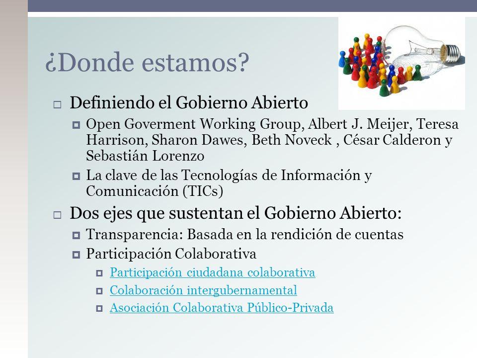 ¿Donde estamos? Definiendo el Gobierno Abierto Open Goverment Working Group, Albert J. Meijer, Teresa Harrison, Sharon Dawes, Beth Noveck, César Calde