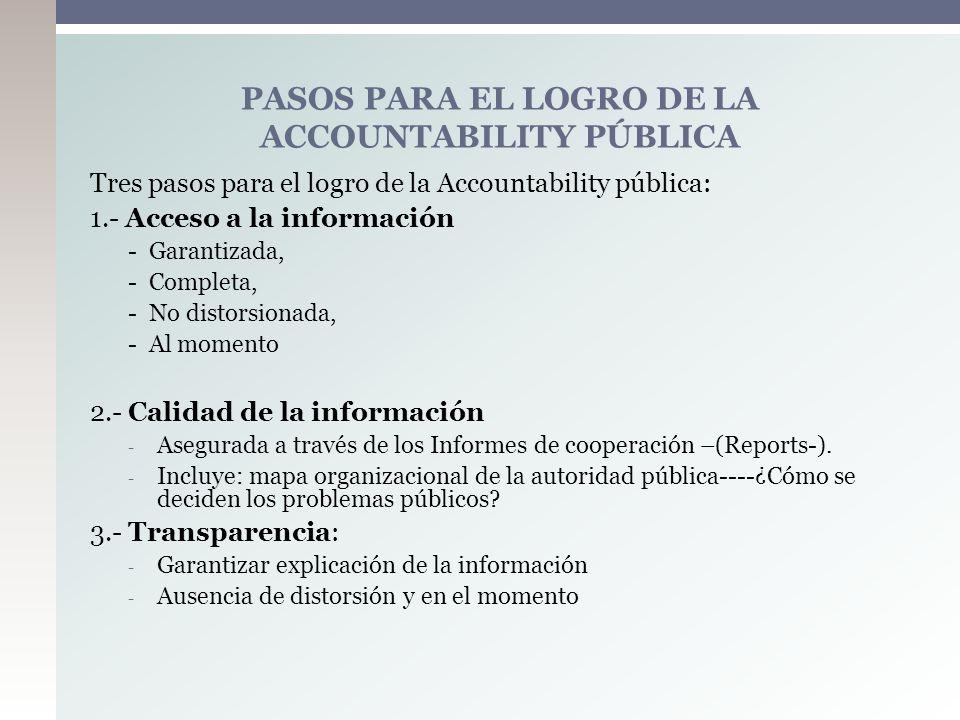 Tres pasos para el logro de la Accountability pública: 1.- Acceso a la información - Garantizada, - Completa, - No distorsionada, - Al momento 2.- Cal