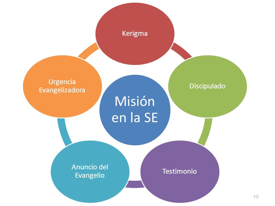 15 Misión en la SE KerigmaDiscipuladoTestimonio Anuncio del Evangelio Urgencia Evangelizadora