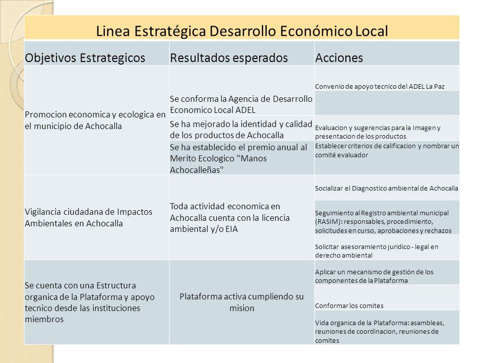 Linea Estratégica Desarrollo Económico Local Objetivos EstrategicosResultados esperadosAcciones Promocion economica y ecologica en el municipio de Ach