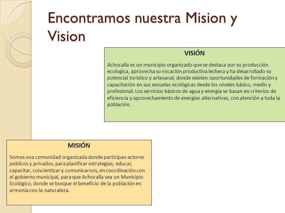 Encontramos nuestra Mision y Vision VISIÓN Achocalla es un municipio organizado que se destaca por su producción ecologica, aprovecha su vocación prod