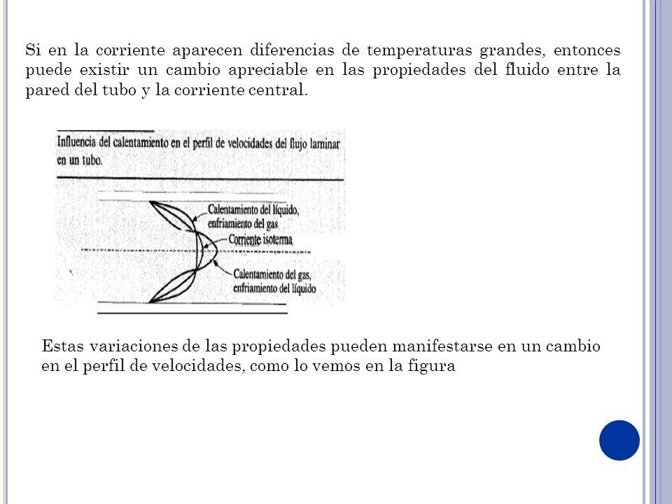 Si en la corriente aparecen diferencias de temperaturas grandes, entonces puede existir un cambio apreciable en las propiedades del fluido entre la pa