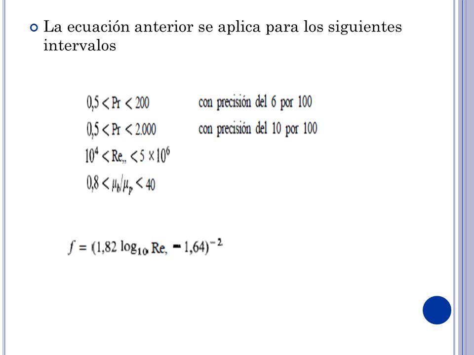 La ecuación anterior se aplica para los siguientes intervalos