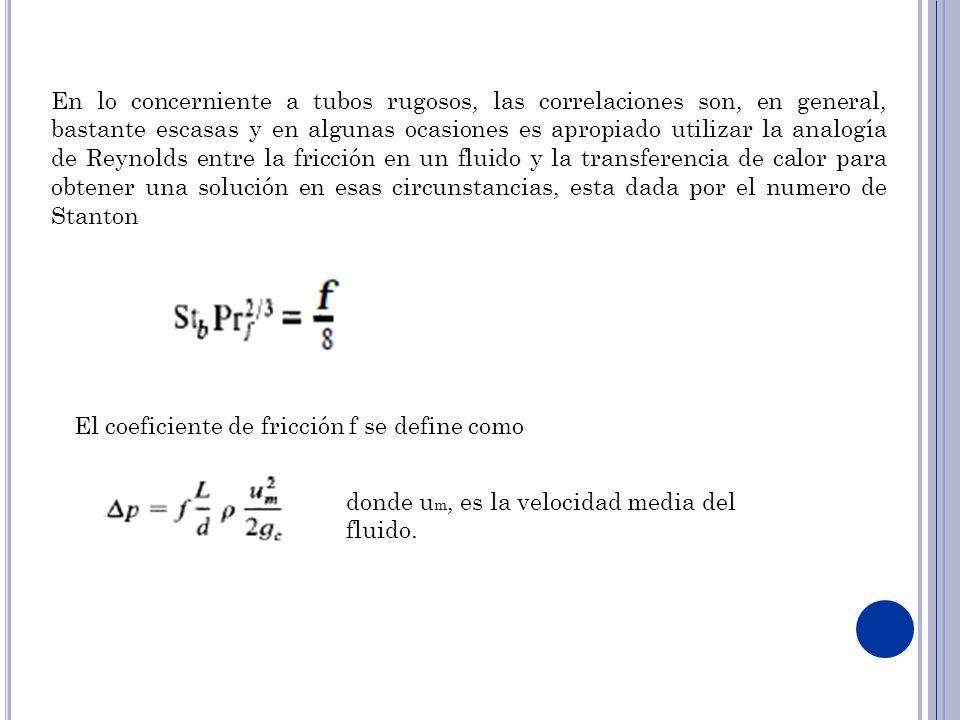 En lo concerniente a tubos rugosos, las correlaciones son, en general, bastante escasas y en algunas ocasiones es apropiado utilizar la analogía de Re