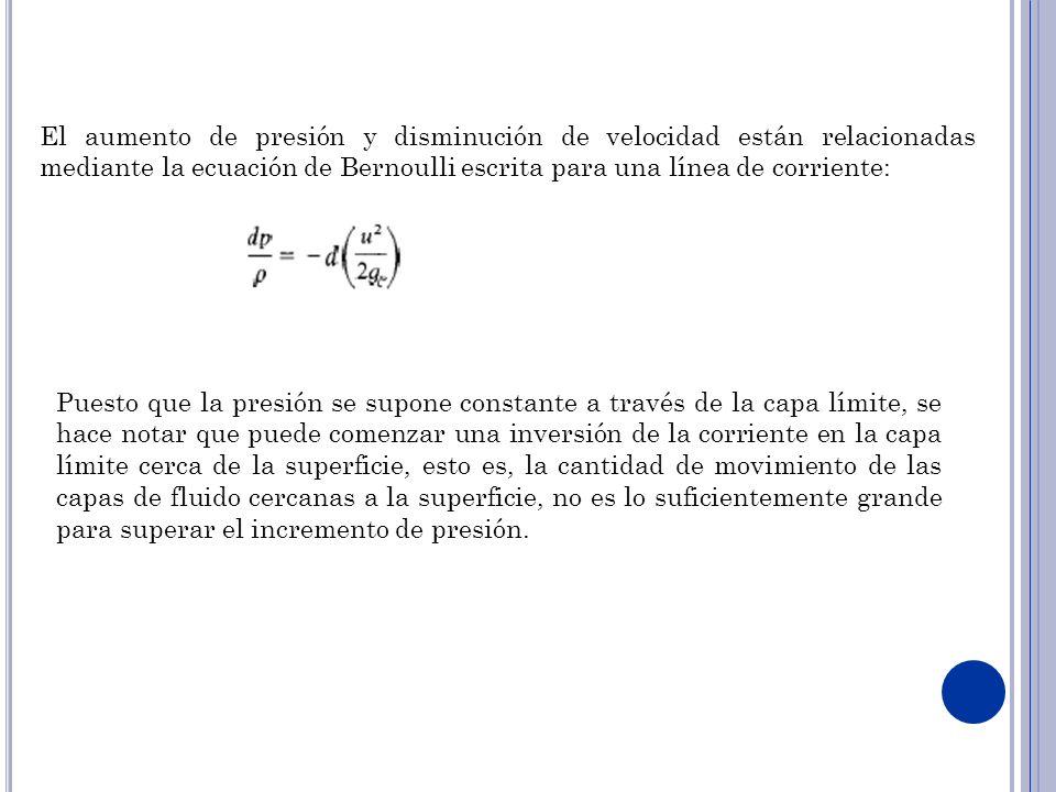 El aumento de presión y disminución de velocidad están relacionadas mediante la ecuación de Bernoulli escrita para una línea de corriente: Puesto que la presión se supone constante a través de la capa límite, se hace notar que puede comenzar una inversión de la corriente en la capa límite cerca de la superficie, esto es, la cantidad de movimiento de las capas de fluido cercanas a la superficie, no es lo suficientemente grande para superar el incremento de presión.