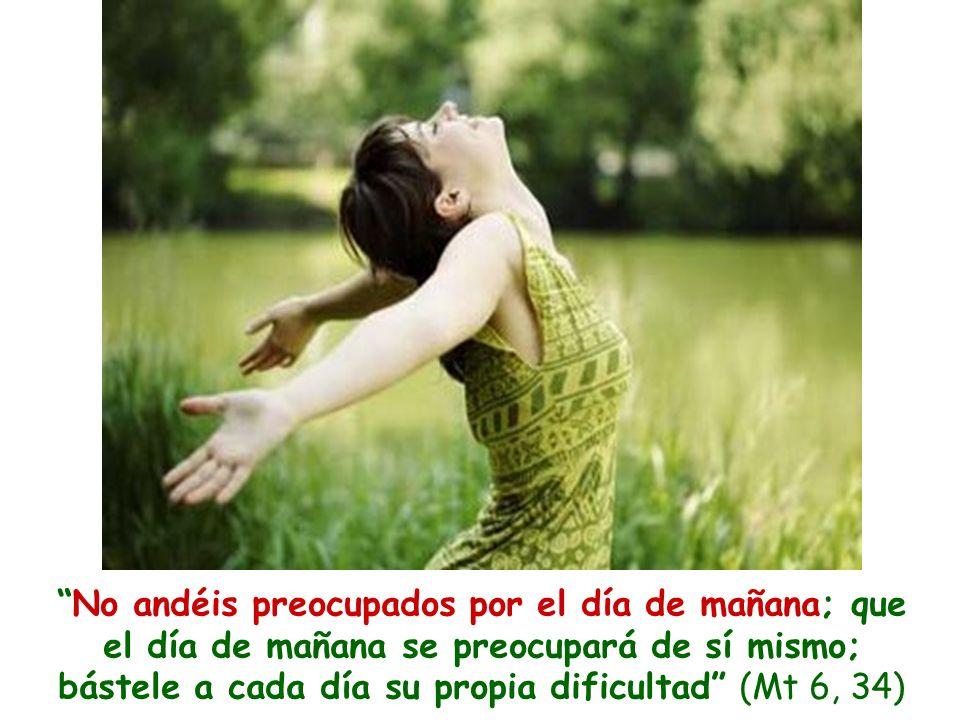 No andéis preocupados por el día de mañana; que el día de mañana se preocupará de sí mismo; bástele a cada día su propia dificultad (Mt 6, 34)