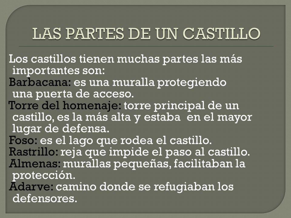 Los castillos tienen muchas partes las más importantes son: Barbacana: es una muralla protegiendo una puerta de acceso. Torre del homenaje: torre prin