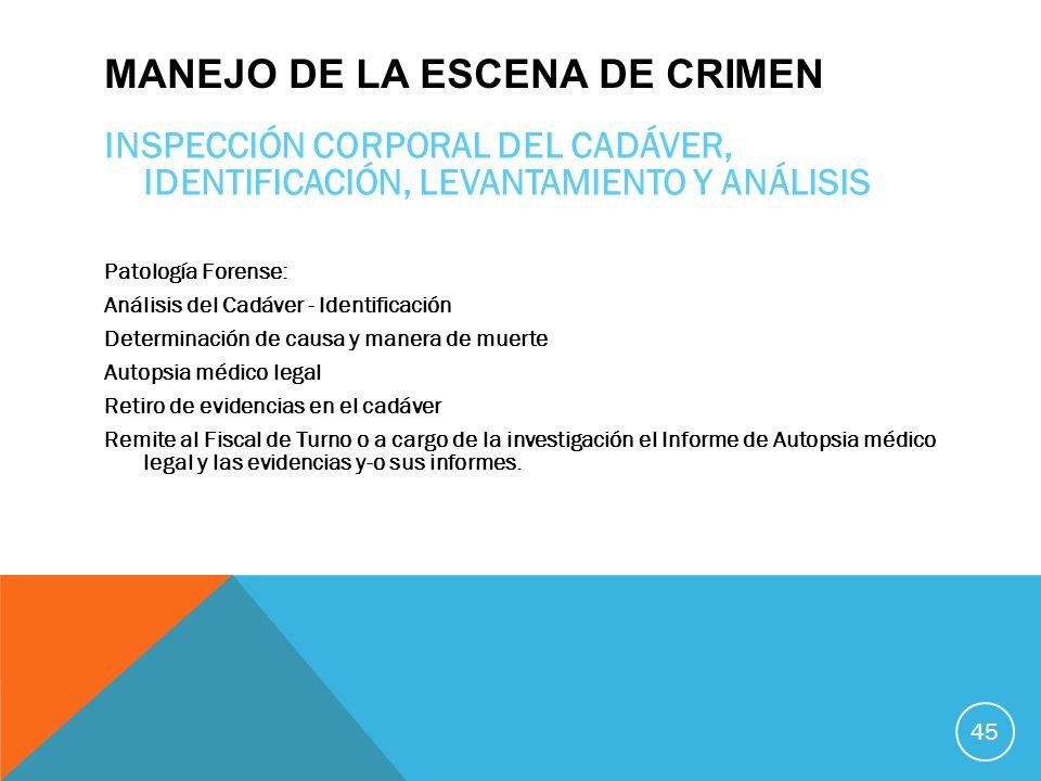 MANEJO DE LA ESCENA DE CRIMEN INSPECCIÓN CORPORAL DEL CADÁVER, IDENTIFICACIÓN, LEVANTAMIENTO Y ANÁLISIS Patología Forense: Análisis del Cadáver - Iden
