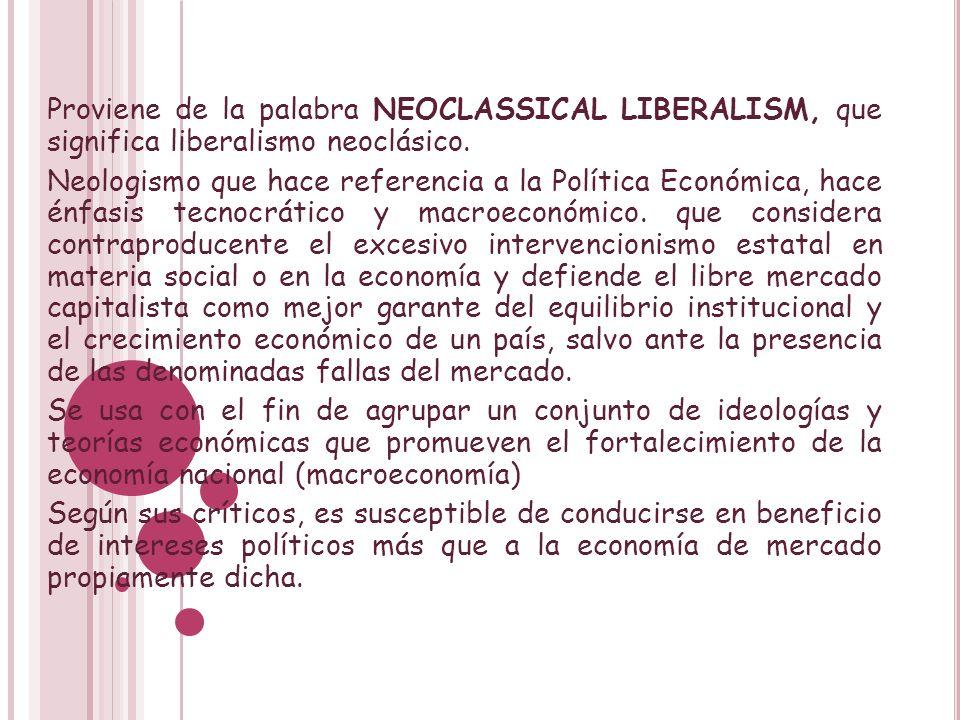 Proviene de la palabra NEOCLASSICAL LIBERALISM, que significa liberalismo neoclásico. Neologismo que hace referencia a la Política Económica, hace énf
