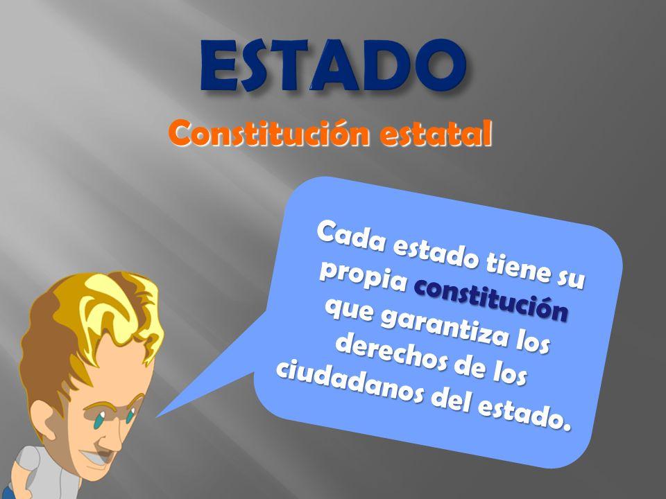 Cada estado tiene su propia constitución que garantiza los derechos de los ciudadanos del estado.