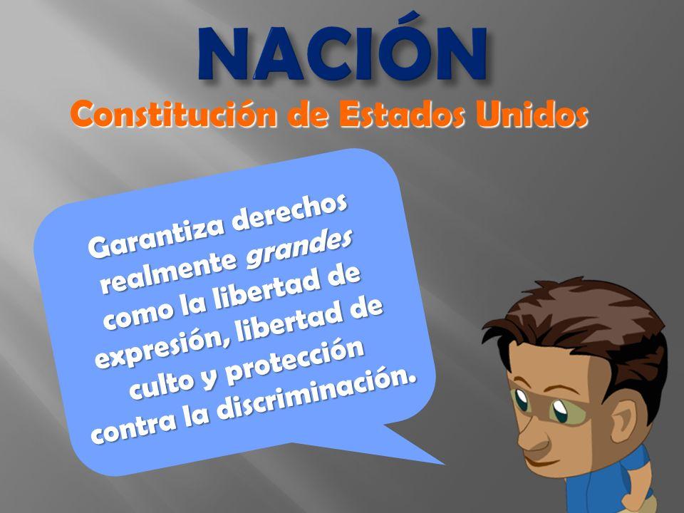 NACIÓN Garantiza derechos realmente grandes como la libertad de expresión, libertad de culto y protección contra la discriminación.